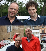 Carpool. Image shows from L to R: Robert Llewellyn, Chris Addison, Arthur Smith. Copyright: RDF Television.
