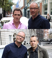 Carpool. Image shows from L to R: Rob Brydon, Robert Llewellyn, Jeremy Hardy. Copyright: RDF Television.