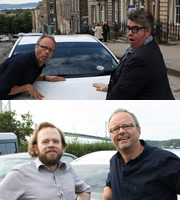 Carpool. Image shows from L to R: Robert Llewellyn, Phill Jupitus, Toby Williams. Copyright: RDF Television.