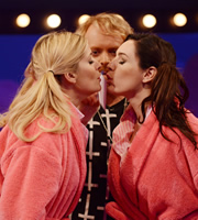 Celebrity Juice. Image shows from L to R: Holly Willoughby, Leigh Francis, Kelly Brook. Copyright: Talkback / TalkbackThames.