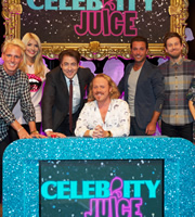Celebrity Juice. Image shows from L to R: Jamie Laing, Holly Willoughby, Jonathan Ross, Leigh Francis, Gino D'Acampo, Chris Ramsey. Copyright: Talkback / TalkbackThames.