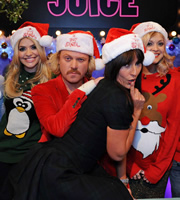 Celebrity Juice. Image shows from L to R: Holly Willoughby, Leigh Francis, Davina McCall, Fearne Cotton. Copyright: Talkback / TalkbackThames.