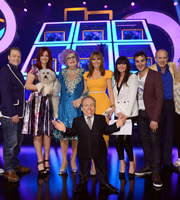 Celebrity Squares. Image shows from L to R: Rufus Hound, Ashleigh Butler, Barry Humphries, Warwick Davis, Carol Vorderman, Lucy Pargeter, Patrick Monahan, Tim Vine. Copyright: September Films / GroupM Entertainment.