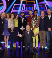 Celebrity Squares. Image shows from L to R: Leigh Francis, Kaye Adams, Nadia Sawalha, Andrea McLean, Joe Wilkinson, Warwick Davis, Andrew Flintoff, Denise Lewis, Hal Cruttenden, Antony Cotton. Copyright: September Films / GroupM Entertainment.