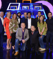 Celebrity Squares. Image shows from L to R: Eamonn Holmes, Ruth Langsford, Sam Bailey, Joe Wilkinson, Bradley Walsh, Tim Vine, Nitin Ganatra, Warwick Davis, Joe Lycett, Aisling Bea, Alex Brooker. Copyright: September Films / GroupM Entertainment.