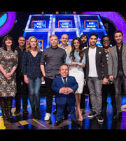Celebrity Squares. Image shows from L to R: Katy Wix, Paddy McGuinness, Anna Crilly, Rob Beckett, Warwick Davis, Tim Vine, Michelle Keegan, Joe Wilkinson, Louis Smith, Alison Hammond, Gino D'Acampo. Copyright: September Films / GroupM Entertainment.