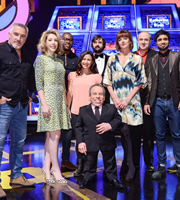 Celebrity Squares. Image shows from L to R: Paul Hollywood, Katherine Ryan, Ugo Monye, Hayley Tamaddon, Joe Wilkinson, Warwick Davis, Doon Mackichan, Tim Vine, Paul Chowdhry. Copyright: September Films / GroupM Entertainment.