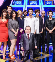 Celebrity Squares. Image shows from L to R: Nina Conti, Jonathan Ross, Shappi Khorsandi, Gabby Logan, Joe Wilkinson, Warwick Davis, JJ Hamblett, George Shelley, Tim Vine, Jaymi Hensley. Copyright: September Films / GroupM Entertainment.