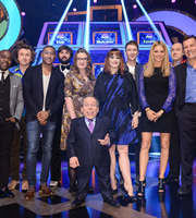 Celebrity Squares. Image shows from L to R: Melvin Odoom, Milton Jones, Rickie Haywood Williams, Joe Wilkinson, Sarah Millican, Warwick Davis, Ana Lynch, Joe Lycett, Tess Daly, Tim Vine, Duncan Bannatyne. Copyright: September Films / GroupM Entertainment.