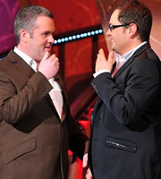 Alan Carr: Chatty Man. Image shows from L to R: Chris Moyles, Alan Carr. Copyright: Open Mike Productions.