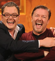 Alan Carr: Chatty Man. Image shows from L to R: Alan Carr, Ricky Gervais. Copyright: Open Mike Productions.