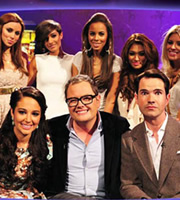 Alan Carr: Chatty Man. Image shows from L to R: Tulisa Contostavlos, Alan Carr, Jimmy Carr. Copyright: Open Mike Productions.
