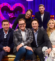 Alan Carr: Chatty Man. Image shows from L to R: Lee Mack, Alan Carr, Dan Aykroyd, Zach Braff, Professor Green, Kate Hudson. Copyright: Open Mike Productions.
