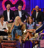 Alan Carr: Chatty Man. Image shows from L to R: Frankie Bridge, Scott Mills, Ella Henderson, Mark Wright, Caroline Flack, Gregg Wallace. Copyright: Open Mike Productions.