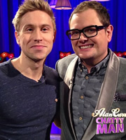 Alan Carr: Chatty Man. Image shows from L to R: Russell Howard, Alan Carr. Copyright: Open Mike Productions.