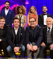 Alan Carr: Chatty Man. Image shows from L to R: George Ezra, Ben Haenow, Richard Hammond, Fleur East, Alan Carr, Lauren Platt, Andrea Faustini, Bruce Forsyth. Copyright: Open Mike Productions.