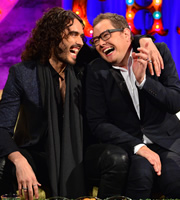 Alan Carr: Chatty Man. Image shows from L to R: Russell Brand, Alan Carr. Copyright: Open Mike Productions.