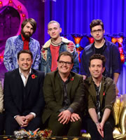 Alan Carr: Chatty Man. Image shows from L to R: Jason Manford, Mikey Goldsworthy, Olly Alexander, Alan Carr, Nick Grimshaw, Emre Türkmen. Copyright: Open Mike Productions.