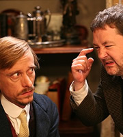 Chekhov: Comedy Shorts. Image shows from L to R: Murashkin (Mackenzie Crook), Tolkachov (Johnny Vegas). Copyright: Baby Cow Productions.