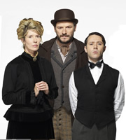 Chekhov: Comedy Shorts. Image shows from L to R: Popova (Julia Davis), Smirnoff (Julian Barratt), Butler (Reece Shearsmith). Copyright: Baby Cow Productions.
