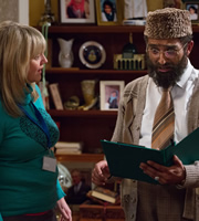 Citizen Khan. Image shows from L to R: Sam (Sally Lindsay), Mr Khan (Adil Ray). Copyright: BBC.