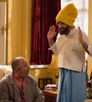 Citizen Khan. Image shows from L to R: Riaz (Nish Nathwani), Mr Khan (Adil Ray). Copyright: BBC.