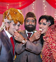 Citizen Khan. Image shows from L to R: Amjad (Abdullah Afzal), Mr Khan (Adil Ray), Shazia (Maya Sondhi). Copyright: BBC.