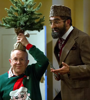 Citizen Khan. Image shows from L to R: Keith (Phil Nice), Mr Khan (Adil Ray). Copyright: BBC.