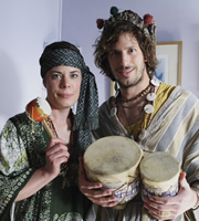 Cuckoo. Image shows from L to R: Connie (Selina Griffiths), Cuckoo (Andy Samberg). Copyright: Roughcut Television.