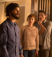 Cuckoo. Image shows from L to R: Dale (Taylor Lautner), Rachel (Esther Smith), Dylan (Tyger Drew-Honey). Copyright: Roughcut Television.