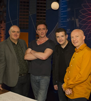 Dara O Briain: School Of Hard Sums. Image shows from L to R: Dara O Briain, Peter Serafinowicz, Kevin Bridges, Marcus du Sautoy. Copyright: Fujisankei Productions / Wild Rover.