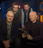 Dara O Briain: School Of Hard Sums. Image shows from L to R: Dara O Briain, Miles Jupp, Lee Mack, Marcus du Sautoy. Copyright: Fujisankei Productions / Wild Rover.