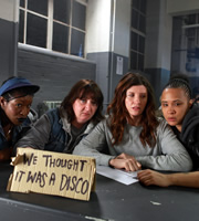 Dead Boss. Image shows from L to R: Yvonne (Claire Prempeh), Slasher (Ashley McGuire), Helen Stephens (Sharon Horgan), Lennie (Golda Rosheuvel). Copyright: BBC.