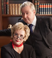 Dead Boss. Image shows from L to R: Governor Margaret (Jennifer Saunders), Sir Humphreys (John Sessions). Copyright: BBC.