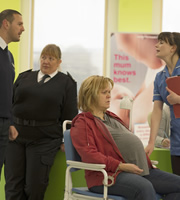 The Delivery Man. Image shows from L to R: Ian (Paddy McGuinness), Prison Officer (Wendy Albiston), Agnes (Lizzie Roper), Lisa (Aisling Bea). Copyright: Monicker Pictures.