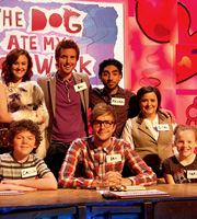 The Dog Ate My Homework. Image shows from L to R: Ashleigh Butler, Dan Wright, Iain Stirling, Mawaan Rizwan, Susan Calman. Copyright: BBC.