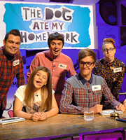 The Dog Ate My Homework. Image shows from L to R: Charlie Baker, Paul McCaffrey, Iain Stirling, Katie Mulgrew. Copyright: BBC.