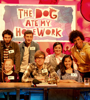 The Dog Ate My Homework. Image shows from L to R: Dan Antopolski, Chris Martin, Iain Stirling, Susan Calman, Radzi Chinyanganya. Copyright: BBC.