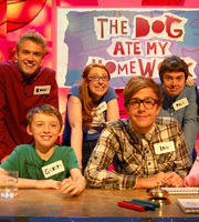 The Dog Ate My Homework. Image shows from L to R: Bobby Lockwood, Katie Mulgrew, Iain Stirling, Paul McCaffrey. Copyright: BBC.