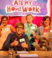 The Dog Ate My Homework. Image shows from L to R: Iain Stirling, Susan Calman. Copyright: BBC.
