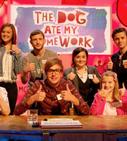 The Dog Ate My Homework. Image shows from L to R: Ashleigh Butler, Chris Martin, Iain Stirling, Susan Calman, Ceallach Spellman. Copyright: BBC.