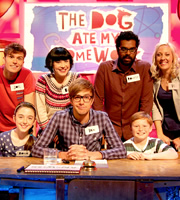 The Dog Ate My Homework. Image shows from L to R: Joel Dommett, Bec Hill, Iain Stirling, Romesh Ranganathan, Victoria Cook. Copyright: BBC.