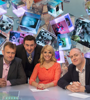 Duck Quacks Don't Echo. Image shows from L to R: Hugh Dennis, Lee Mack, Holly Willoughby, Dara O Briain. Copyright: Magnum Media.