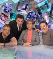 Duck Quacks Don't Echo. Image shows from L to R: Andrew Flintoff, Lee Mack, Mel Giedroyc, Johnny Vegas. Copyright: Magnum Media.