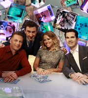 Duck Quacks Don't Echo. Image shows from L to R: Chris Packham, Lee Mack, Kimberley Walsh, Jimmy Carr. Copyright: Magnum Media.
