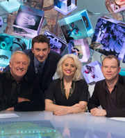 Duck Quacks Don't Echo. Image shows from L to R: Chris Tarrant, Lee Mack, Kimberly Wyatt, Robert Webb. Copyright: Magnum Media.