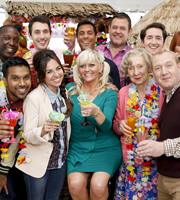 Edge Of Heaven. Image shows from L to R: Spanner (Raphael Sowole), Donkey (Nav Sidhu), Alfie (Blake Harrison), Michelle (Louisa Lytton), Tandeep (Nitin Kundra), Judy (Camille Coduri), Joe (Tony Maudsley), Nanny Mo (Marcia Warren), Camp Gary (Robert Evans), Bald Gary (Adrian Scarborough). Copyright: Hartswood Films Ltd.