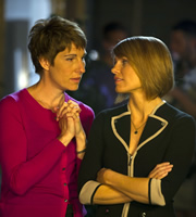 Episodes. Image shows from L to R: Beverly Lincoln (Tamsin Greig), Carol Rance (Kathleen Rose Perkins). Copyright: Hat Trick Productions / BBC.