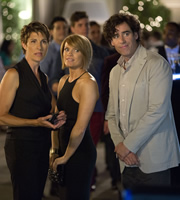 Episodes. Image shows from L to R: Beverly Lincoln (Tamsin Greig), Carol Rance (Kathleen Rose Perkins), Sean Lincoln (Stephen Mangan). Copyright: Hat Trick Productions / BBC.