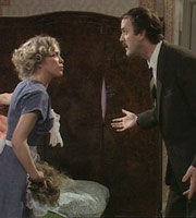 Fawlty Towers. Image shows from L to R: Polly (Connie Booth), Basil Fawlty (John Cleese). Copyright: BBC.